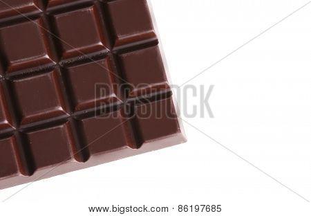 Black chocolate bar isolated on white
