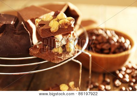 Set of chocolate with nuts, closeup