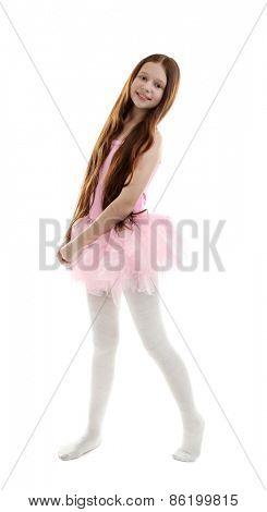 Beautiful little ballerina isolated on white