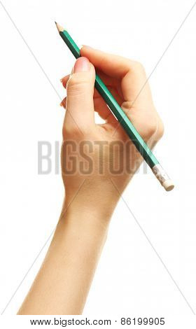 Female hand with pencil isolated on white