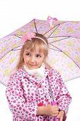 foto of cloak  - Pretty little girl in cloak with pink umbrella - JPG