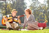 picture of early 60s  - Senior man playing guitar to his wife on a picnic - JPG