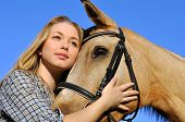 pic of horse face  - portrait of teenage girl and horse in summer day - JPG
