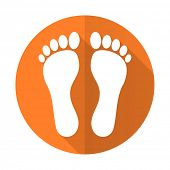 image of flat-foot  - foot orange flat icon   - JPG