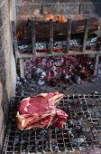 image of porterhouse steak  - Heavy slice of meat named fiorentina steak ready for grill - JPG