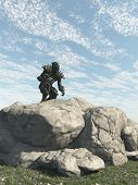stock photo of alien  - Science fiction illustration of an alien warrior scouting an enemy planet - JPG