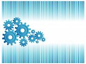 image of marketing strategy  - blue business background with a group of gears - JPG