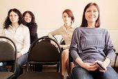 image of middle class  - Group of womans sitting in education class - JPG