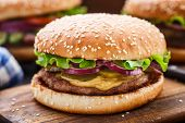 pic of pork cutlet  - Burger with pork cutlete and pickles - JPG