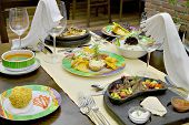 picture of catering  - Detail of table set for wedding or another catered event dinner - JPG