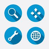 stock photo of maxim  - Magnifier glass and globe search icons - JPG