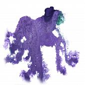 stock photo of insults  - abstract light lilac hand drawn watercolor blot insult Rorschach psychology - JPG