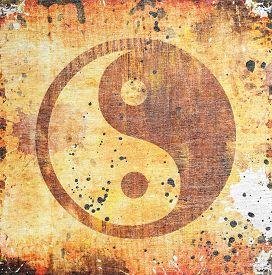 stock photo of yin  - Yin yang symbol on grunge background with stains - JPG
