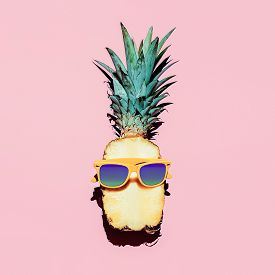 stock photo of vanilla  - Hipster Pineapple Fashion Accessories and fruits - JPG