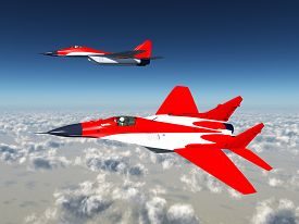 stock photo of fighter plane  - Computer generated 3D illustration with two Russian Fighter Planes - JPG