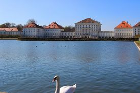 picture of munich residence  - Nymphenburg Castle in Munich at the lake - JPG
