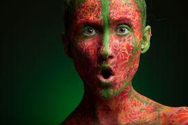 picture of face-powder  - color face art woman face close up portrait - JPG