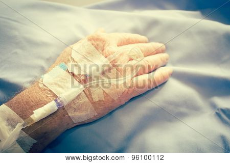 Iv Solution Drop In Patient Hand