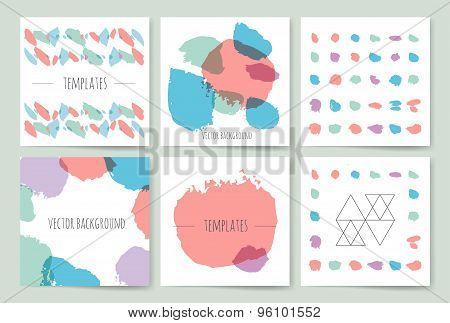 Hand drawn brush strokes card templates set