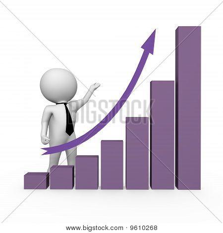 Human behind graph bars - a 3d image