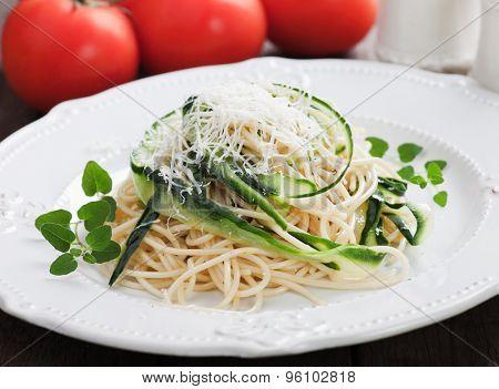 Italian zucchini pasta with oregano and parmesan cheese
