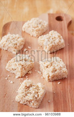 Coconut Candy Cocada On Wooden Board