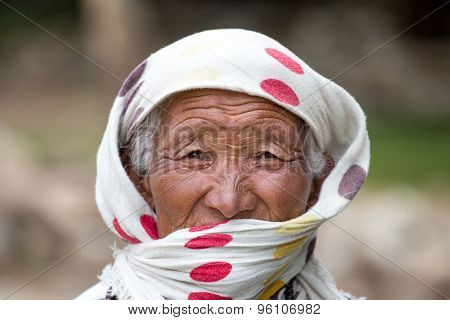 Old Unidentified Local Woman In Leh. India