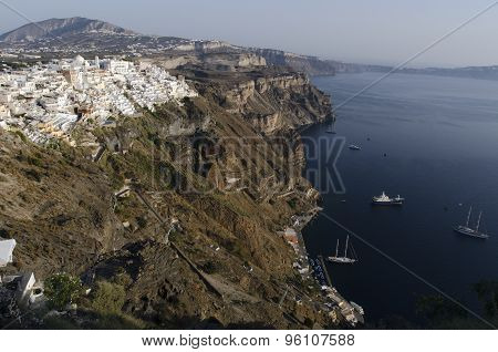 Port And City Of Fira Santorini