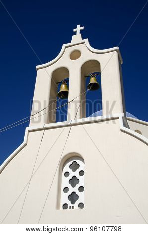 Bell Tower On The Island Of Santorini In Greece