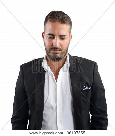 Businessman discouraged