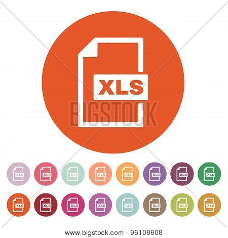 The XLS icon. File format symbol. Flat