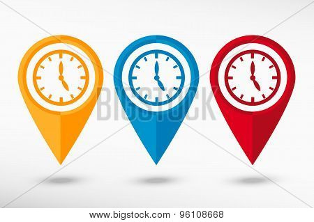 Watches map pointer, vector illustration. Flat design style