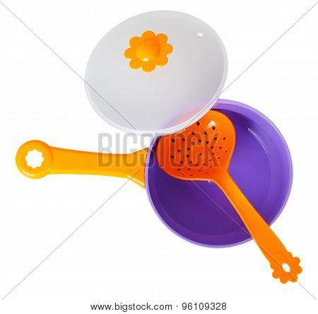 Purple Toy Pan With Orange Colander