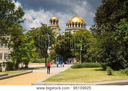 Dome of St. Alexander Nevski Cathedral in Sofia, Bulgaria