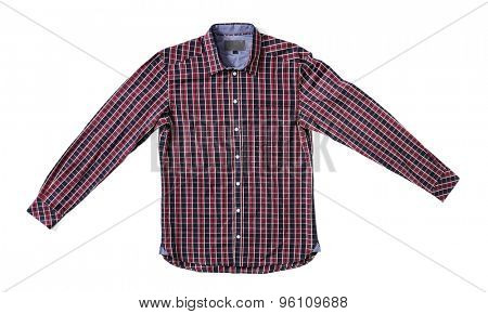Men's red and black plaid shirt isolated on white with natural shadows.