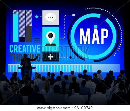 Map Direction Destination Location Route Concept