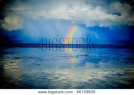 Rainbow Over The Ocean At Rays Rest. New Zealand