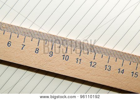 Notepads And Wooden Ruler On The Old Tissue