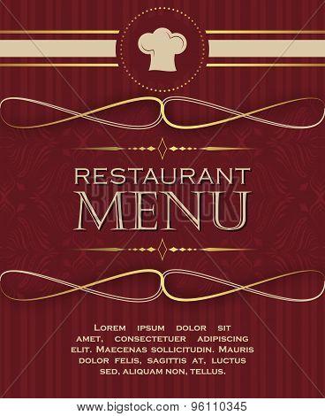 Restaurant menu design cover template in retro style 01