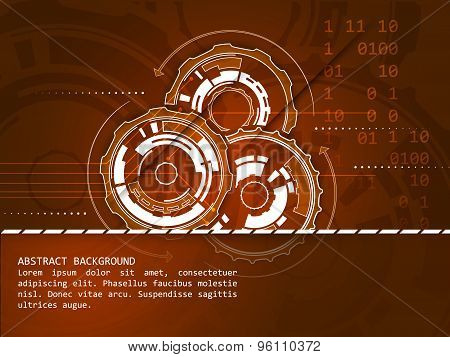 Abstract technology vector background with gear wheels shadow number scheme and circuit board