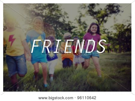 Friends Children Kids Playing Playful Outdoors Concept