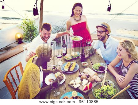 Diverse People Luncheon Beach Rooftop Food Concept