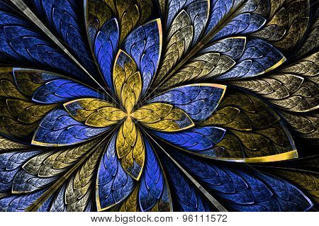 Beautiful Fractal As Flower Or  Butterfly In Stained Glass Window Style. Computer Generated Graphics