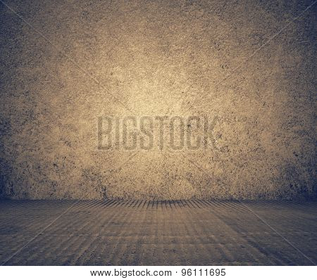 old grunge room with concrete wall, black and white background, retro filtered, instagram style