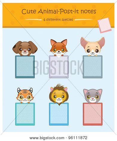 Cute animal post it notes