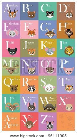 Cute and colorful animal alphabet
