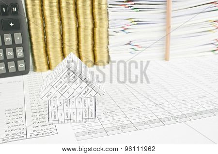 Close Up House On Finance Account Have Pencil Place Vertical