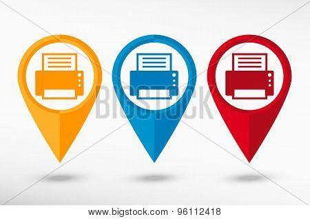 Printer map pointer, vector illustration. Flat design style