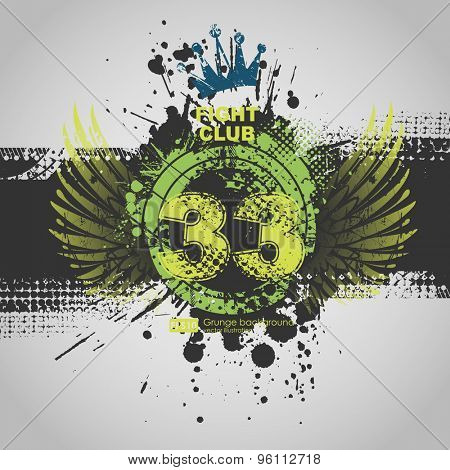 Party Flyer Template. Vector Design. Abstract Grunge Background.  Abstract vector grunge background poster for party. Grunge banner with an inky dribble strip with copy space.
