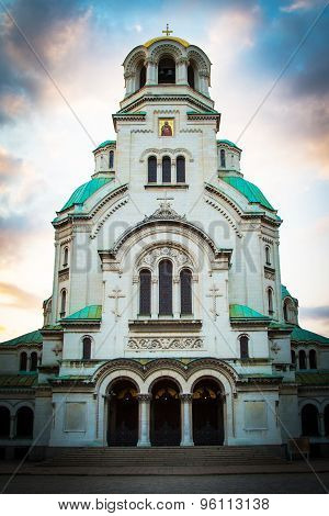 Entrance View Of St. Alexander Nevski Cathedral In Sofia, Bulgaria